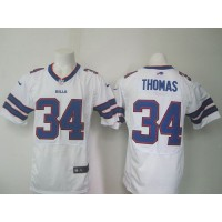 Nike Bills #34 Thurman Thomas White Men's Stitched NFL New Elite Jersey