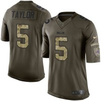 Nike Bills #5 Tyrod Taylor Green Men's Stitched NFL Limited Salute To Service Jersey