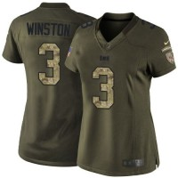 Nike Buccaneers #3 Jameis Winston Green Women's Stitched NFL Limited Salute to Service Jersey