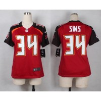 Nike Buccaneers #34 Charles Sims Red Team Color Women's Stitched NFL New Elite Jersey