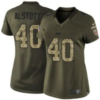 Nike Buccaneers #40 Mike Alstott Green Women's Stitched NFL Limited Salute to Service Jersey