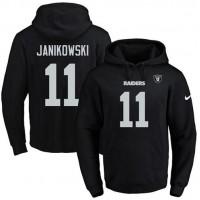 Nike Oakland Raiders #11 Sebastian Janikowski Black Name & Number Pullover NFL Hoodie