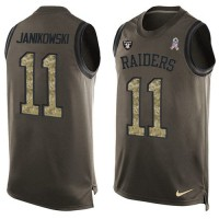 Nike Oakland Raiders #11 Sebastian Janikowski Green Men's Stitched NFL Limited Salute To Service Tank Top Jersey
