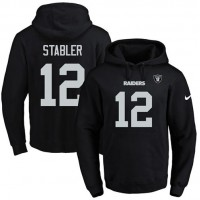 Nike Oakland Raiders #12 Kenny Stabler Black Name & Number Pullover NFL Hoodie