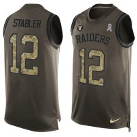 Nike Oakland Raiders #12 Kenny Stabler Green Men's Stitched NFL Limited Salute To Service Tank Top Jersey