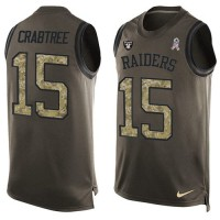 Nike Oakland Raiders #15 Michael Crabtree Green Men's Stitched NFL Limited Salute To Service Tank Top Jersey