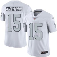 Nike Oakland Raiders #15 Michael Crabtree White Men's Stitched NFL Limited Rush Jersey