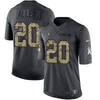 Nike Oakland Raiders #20 Nate Allen Anthracite Men's Stitched NFL Limited 2016 Salute To Service Jersey