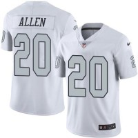 Nike Oakland Raiders #20 Nate Allen White Men's Stitched NFL Limited Rush Jersey