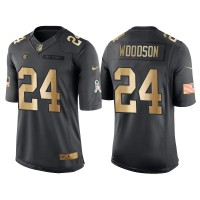 Nike Oakland Raiders #24 Charles Woodson Anthracite 2016 Christmas Gold Men's NFL Limited Salute to Service Jersey