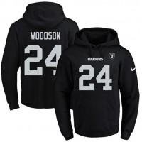 Nike Oakland Raiders #24 Charles Woodson Black Name & Number Pullover NFL Hoodie