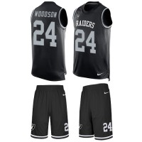 Nike Oakland Raiders #24 Charles Woodson Black Team Color Men's Stitched NFL Limited Tank Top Suit Jersey