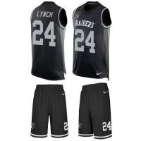 Nike Oakland Raiders #24 Marshawn Lynch Black Team Color Men's Stitched NFL Limited Tank Top Suit Jersey