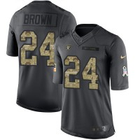 Nike Oakland Raiders #24 Willie Brown Black Men's Stitched NFL Limited 2016 Salute To Service Jersey