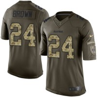 Nike Oakland Raiders #24 Willie Brown Green Men's Stitched NFL Limited Salute to Service Jersey