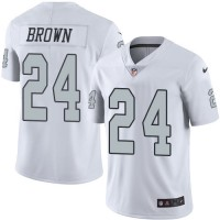 Nike Oakland Raiders #24 Willie Brown White Men's Stitched NFL Limited Rush Jersey