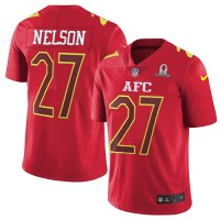 Nike Oakland Raiders #27 Reggie Nelson Red Men's Stitched NFL Limited AFC 2017 Pro Bowl Jersey