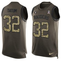 Nike Oakland Raiders #32 Jack Tatum Green Men's Stitched NFL Limited Salute To Service Tank Top Jersey