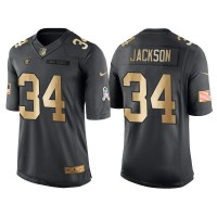 Nike Oakland Raiders #34 Bo Jackson Anthracite 2016 Christmas Gold Men's NFL Limited Salute to Service Jersey