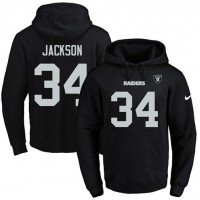 Nike Oakland Raiders #34 Bo Jackson Black Name & Number Pullover NFL Hoodie