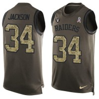 Nike Oakland Raiders #34 Bo Jackson Green Men's Stitched NFL Limited Salute To Service Tank Top Jersey