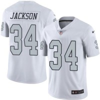 Nike Oakland Raiders #34 Bo Jackson White Men's Stitched NFL Limited Rush Jersey