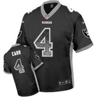 Nike Oakland Raiders #4 Derek Carr Black Men's Stitched NFL Elite Drift Fashion Jersey