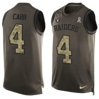 Nike Oakland Raiders #4 Derek Carr Green Men's Stitched NFL Limited Salute To Service Tank Top Jersey