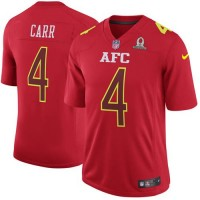 Nike Oakland Raiders #4 Derek Carr Red Men's Stitched NFL Game AFC 2017 Pro Bowl Jersey