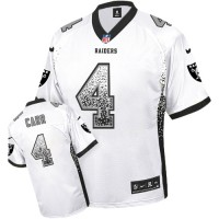 Nike Oakland Raiders #4 Derek Carr White Men's Stitched NFL Elite Drift Fashion Jersey