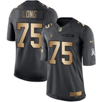 Nike Oakland Raiders #75 Howie Long Anthracite Men's Stitched NFL Limited Gold Salute To Service Jersey