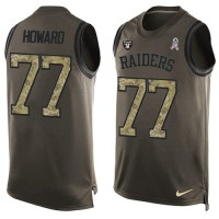 Nike Oakland Raiders #77 Austin Howard Green Men's Stitched NFL Limited Salute To Service Tank Top Jersey