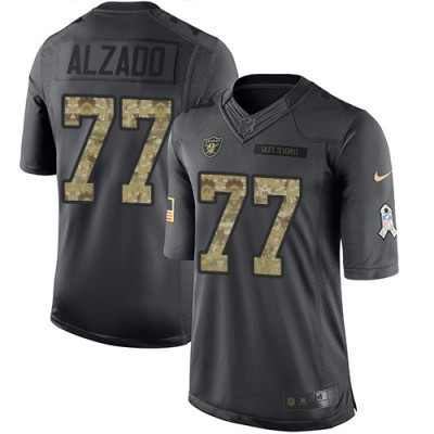 Nike Oakland Raiders #77 Lyle Alzado Anthracite Men's Stitched NFL Limited 2016 Salute To Service Jersey