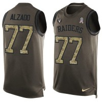 Nike Oakland Raiders #77 Lyle Alzado Green Men's Stitched NFL Limited Salute To Service Tank Top Jersey