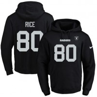 Nike Oakland Raiders #80 Jerry Rice Black Name & Number Pullover NFL Hoodie