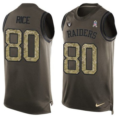 Nike Oakland Raiders #80 Jerry Rice Green Men's Stitched NFL Limited Salute To Service Tank Top Jersey