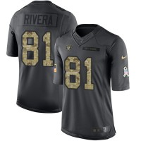 Nike Oakland Raiders #81 Mychal Rivera Anthracite Men's Stitched NFL Limited 2016 Salute To Service Jersey