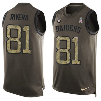 Nike Oakland Raiders #81 Mychal Rivera Green Men's Stitched NFL Limited Salute To Service Tank Top Jersey
