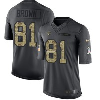 Nike Oakland Raiders #81 Tim Brown Anthracite Men's Stitched NFL Limited 2016 Salute To Service Jersey