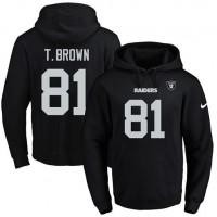 Nike Oakland Raiders #81 Tim Brown Black Name & Number Pullover NFL Hoodie