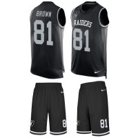 Nike Oakland Raiders #81 Tim Brown Black Team Color Men's Stitched NFL Limited Tank Top Suit Jersey