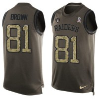 Nike Oakland Raiders #81 Tim Brown Green Men's Stitched NFL Limited Salute To Service Tank Top Jersey