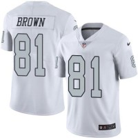 Nike Oakland Raiders #81 Tim Brown White Men's Stitched NFL Limited Rush Jersey