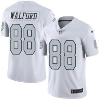 Nike Oakland Raiders #88 Clive Walford White Men's Stitched NFL Limited Rush Jersey