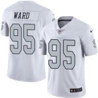 Nike Oakland Raiders #95 Jihad Ward White Men's Stitched NFL Limited Rush Jersey