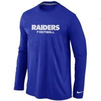 Nike Oakland Raiders Authentic Font Long Sleeve T-Shirt Blue