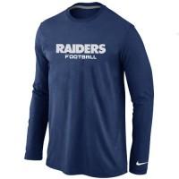 Nike Oakland Raiders Authentic Font Long Sleeve T-Shirt Dark Blue