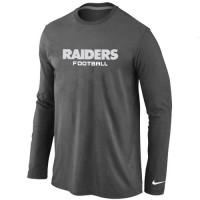 Nike Oakland Raiders Authentic Font Long Sleeve T-Shirt Dark Grey