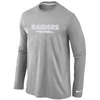 Nike Oakland Raiders Authentic Font Long Sleeve T-Shirt Grey