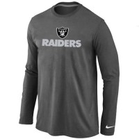 Nike Oakland Raiders Authentic Logo Long Sleeve T-Shirt Dark Grey